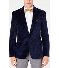 bar iii men's slim-fit blue paisley velvet sport coat, created for macy's