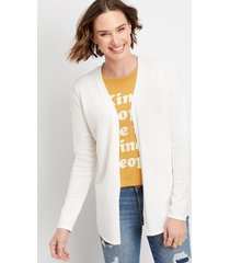 maurices womens pointelle back open front cardigan white
