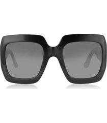 gucci designer sunglasses, gg0053s 001 black acetate square women's sunglasses