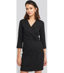 trendyol buckle detailed mini dress - black