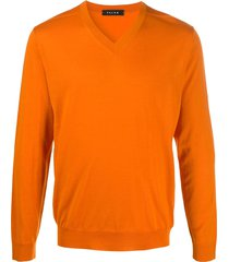 falke v-neck knit pullover - orange