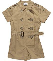 burberry short-sleeve belted raincoat