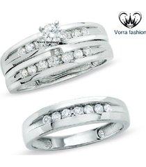 1.25ct diamond trio set his hers engagement ring wedding band 10k white gold fn.