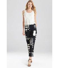 natori block print crepe pants, women's, black, size 6 natori