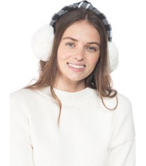 inc buffalo check top knot faux fur earmuffs, created for macy's