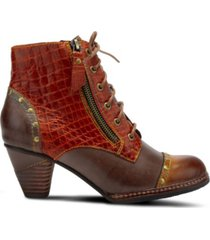 l'artiste women's siara crocodile print lace-up booties women's shoes