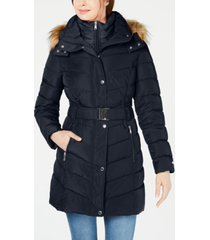 tommy hilfiger belted faux-fur-trim hooded puffer coat, created for macy's
