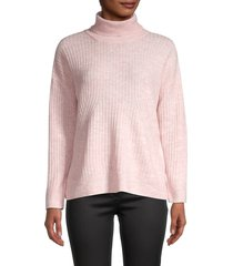 saks fifth avenue women's rib-knit mockneck sweater - pink - size xl