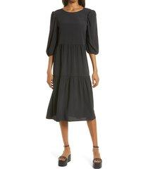 charles henry tie back midi dress, size x-large in black at nordstrom