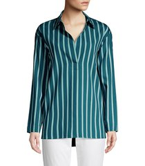 lafayette 148 new york women's beckett mediterranean stripe blouse - pacific - size s