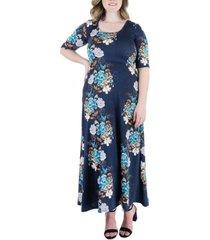 plus size floral elbow sleeve maxi dress
