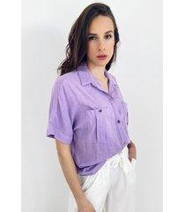 camisa lila odas lino over