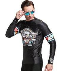 traje de baño hombre camiseta manga larga surf proteccion solar negro