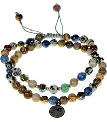 jean claude men's dell arte 2-piece leather, goldplated stainless steel & multi-stone bracelet set