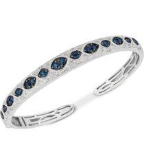 sapphire (1-3/4 ct. t.w.) & diamond (1/6 ct. t.w.) bangle bracelet in sterling silver