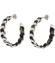 curb chain floral print ribbon hoop earrings