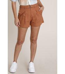 short de sarja feminino cintura alta com cinto cobre