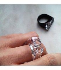transparentny pierścionek z cyrkonią