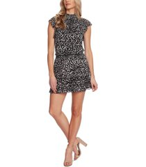 1.state leopard-print smocked-trim mini dress