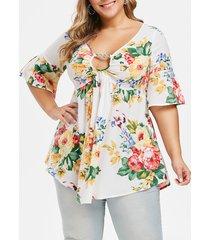 plus size ditsy print zippered tunic blouse