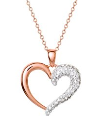 """giani bernini crystal heart 18"""" pendant necklace in 14k rose gold-plated sterling silver, created for macy's"""