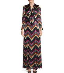 annabella chevron silk-blend maxi dress