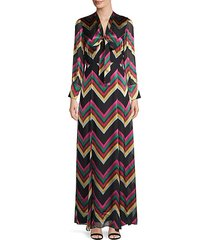 annabella chevron silk-blend maxi dress