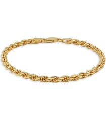 saks fifth avenue made in italy men's gold over silver rope chain bracelet