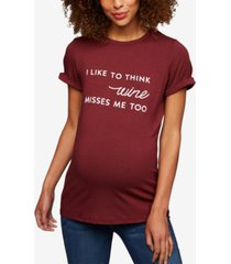 a pea in the pod i like to think wine misses me too maternity t-shirt