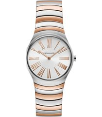 bcbgmaxazria ladies round two tone rosegold stainless steel bracelet watch, 33mm