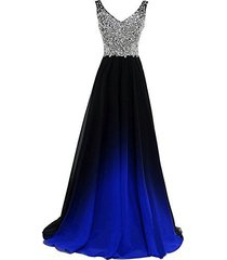 gradient black ombre chiffon royal blue beaded prom evening dresses custom made