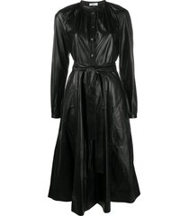 co belted single-breasted dress - black