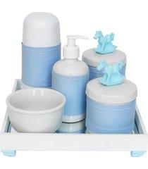 kit higiene espelho completo porcelanas, garrafa pequena e capa cavalinho azul quarto bebê menino