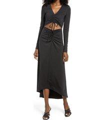 afrm rhys cutout long sleeve midi dress, size medium in noir at nordstrom