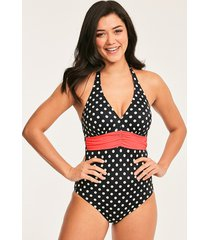 tuscany spot underwire plunge halter tummy control one-piece swimsuit d-gg