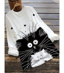 camicetta a maniche lunghe con stampa di gatti dei cartoni animati plus