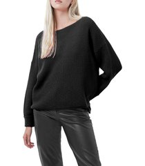 women's french connection millie mozart waffle knit sweater, size medium - black
