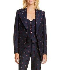 women's gucci gg cherry cotton & wool fil coupe blazer