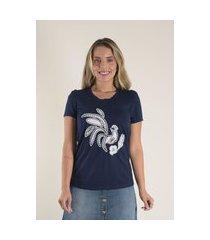 blusa mamorena t-shirt com bordado azul marinho