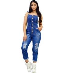 macacã£o jardineira jeans longa - ewf jeans - destroyed estilo retrã´ - azul escuro - azul - feminino - dafiti