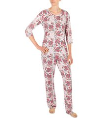 miss elaine printed pajama set