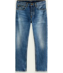 scotch & soda dean loose tapered fit jeans van biologisch katoen – washout