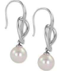 majorica sterling silver knot and man-made pearl drop earrings (10mm)