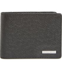 men's boss 'signature' bifold calfskin leather wallet - black