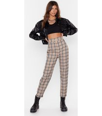 womens high-waisted check tapered pants with zip fly closure - beige