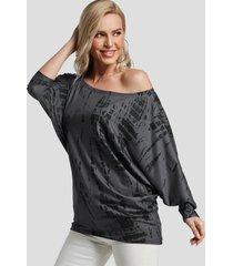 camiseta gris oscuro con mangas de murciélago con efecto tie dye one