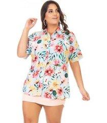 camisa floral manga curta plus size confidencial extra feminina