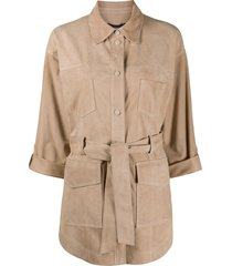 arma tie-waist patch-pocket jacket - neutrals