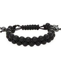 jean claude men's double striped agate shmabala bracelet - black