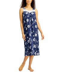 charter club petite lace-trim knit nightgown, created for macy's